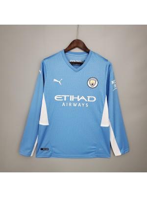 Camiseta Manchester City Primera Equipacion 2021/2022 Manga larga